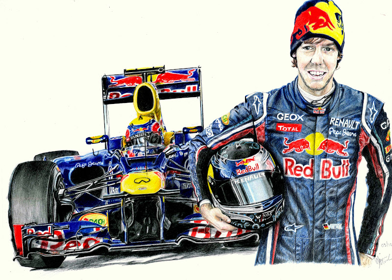 рисунок болида Red Bull RB8 Себастьяна Феттеля и Марка Уэббера в сезоне 2012 by Galbatore