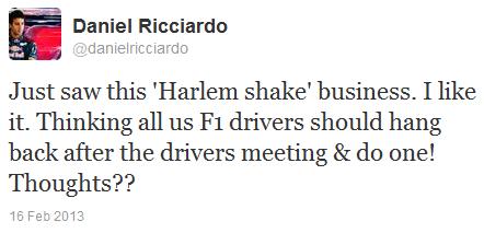 Даниэль Риккардо в твиттере о Harlem shake 16 февраля 2013