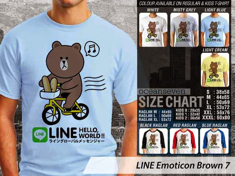 KAOS IT LINE Emoticon Brown 7 Social Media Chating distro ocean seven