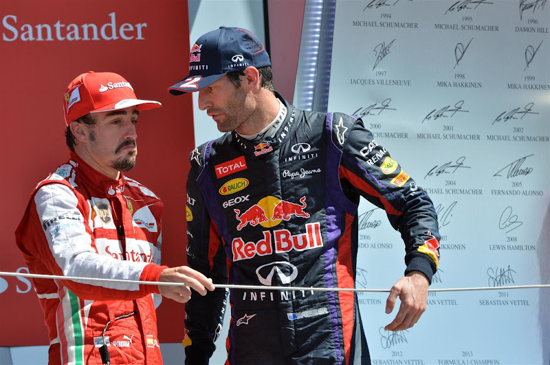 Фернандо Алонсо иМарк Уэббер на подиуме Сильверстоуна на Гран-при Великобритании 2013