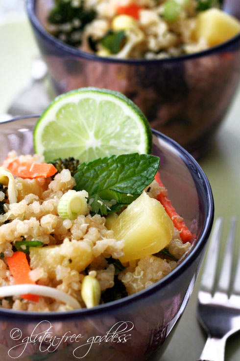 Pineapple quinoa salad with broccoli carrots mint and lime