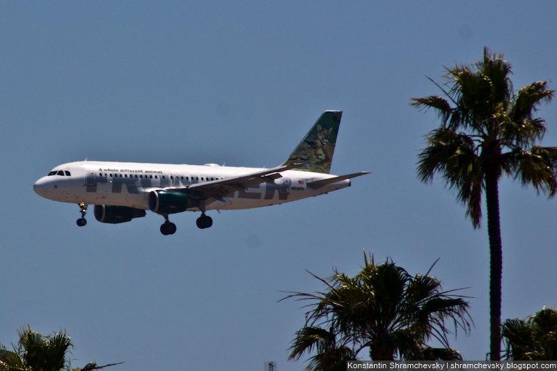 USA California San Diego Internagional Airport Lindbergh Field Frontier Airlines Airbus A319 США Калифорния Сан-Диего Международный Аэропорт Линдберг Филд поле Фронтир Эйрлайнз Аэробус Эйрбас А319