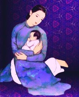 Ảnh mẹ ôm con thơ vào lòng