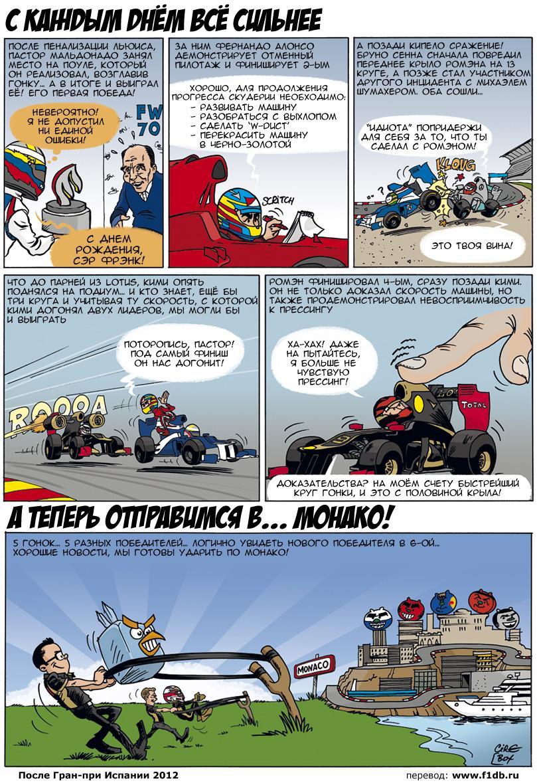 Комикс Cirebox и Lotus F1 Team после Гран-при Испании 2012 на русском