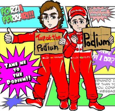 Фернандо Алонсо и Фелипе Масса автостопят для Ferrari - карикатура Chang Midzki