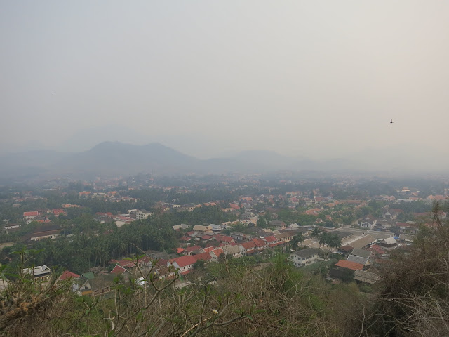 Hazy view over Luang Prabang from Mount Phou Si.