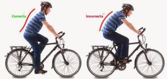 posición correcta de la espalda bicicleta