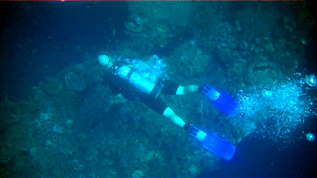 Erik diving the Tulamben wreck.