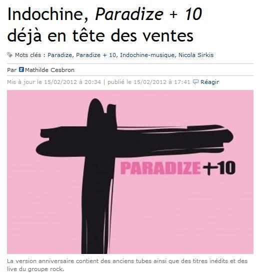 Paradize +10 en el top de ventas