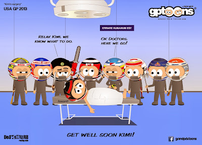 Кими Райкконен на операционном столе - комикс Grand Prix Toons по Гран-при США 2013