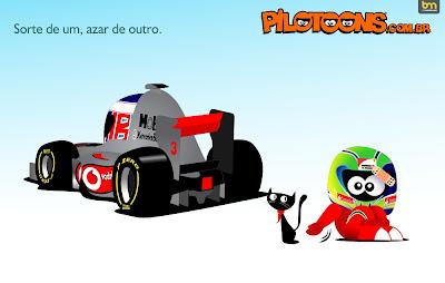 Фелипе Масса отгоняет черную кошку в сторону Дженсона Баттона - pilotoons 2012