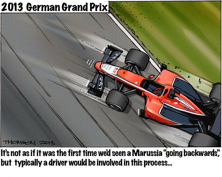 Marussia откатывается назад - комикс Bruce Thomson по Гран-при Германии 2013