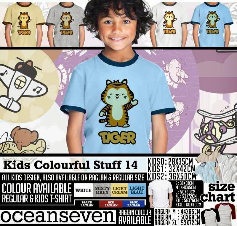 Kaos anak Kids Colourful 14 Lucu Gambar Tiger distro ocean seven