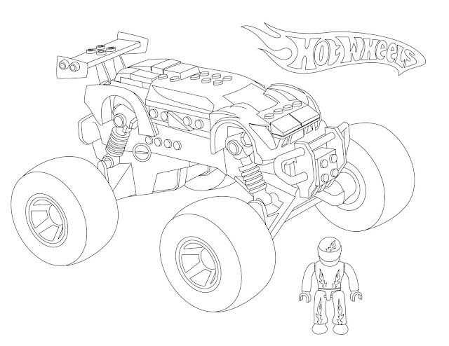 Hot Wheels Mega Bloks Monster Truck coloring page ready for download or print. Get the image to make a fun activity for kids who like trucks or Hot Wheels toys