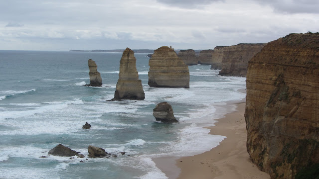 The Twelve Apostles - a huge tourist attraction on the Great Ocean Road.