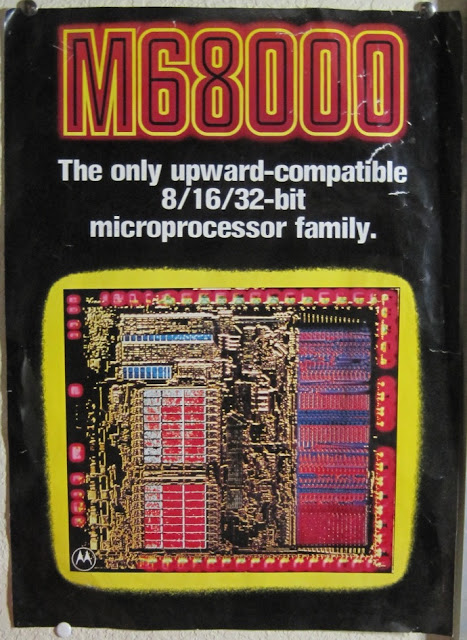 Motorola 68000 promotional poster with chip die image.