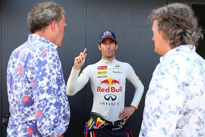 Марк Уэббер в компании с Джереми Кларксоном и Джеймсом Мэем на фестивале Top Gear в Сиднее 10 марта 2013