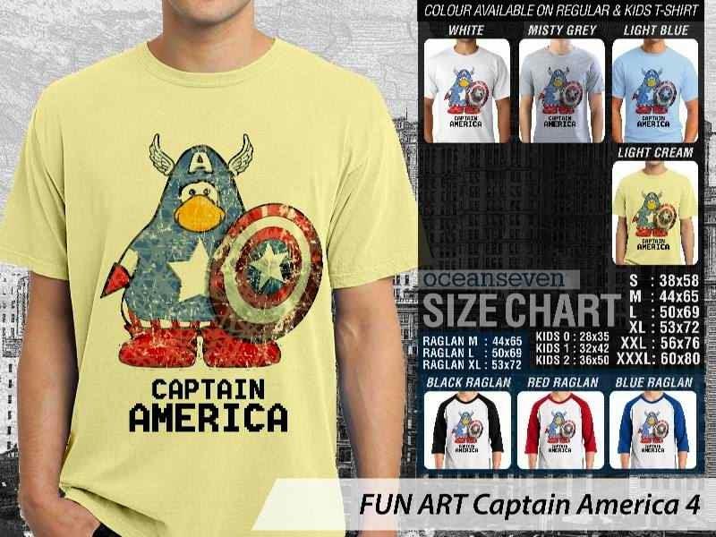 KAOS Captain America 4 Kartun Lucu distro ocean seven