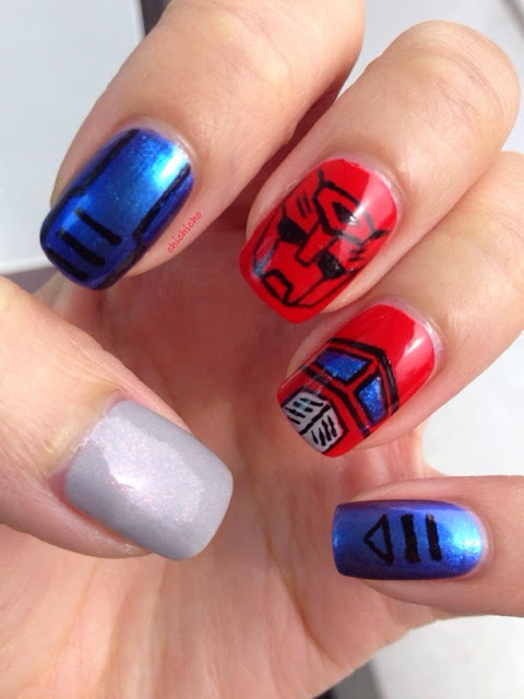 Transformers Optimus Prime Nail Art
