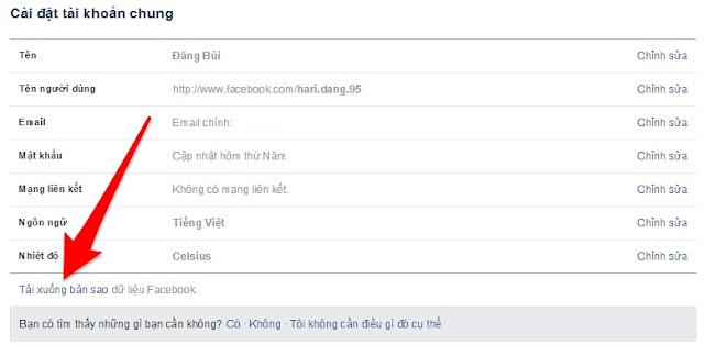 """Nhấn vào""""Tải xuống bản sao dữ liệu Facebook"""""""