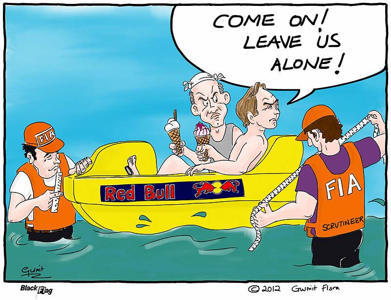 Эдриан Ньюи и Кристиан Хорнер в лодке Red Bull под инспекцией FIA - комикс Black Flag
