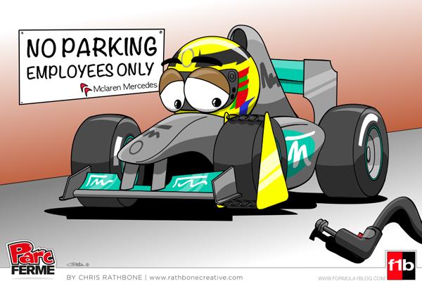 Льюис Хэмилтон паркуется на стоянке McLaren - комикс Chris Rathbone по Гран-при Малайзии 2013