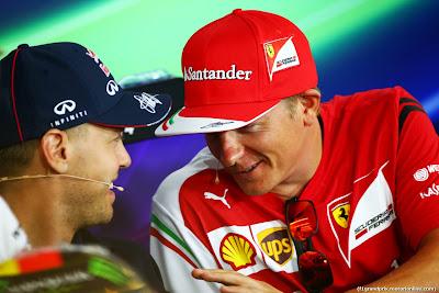 Себастьян Феттель и Кими Райкконен на пресс-конференции в четверг на Гран-при Германии 2014