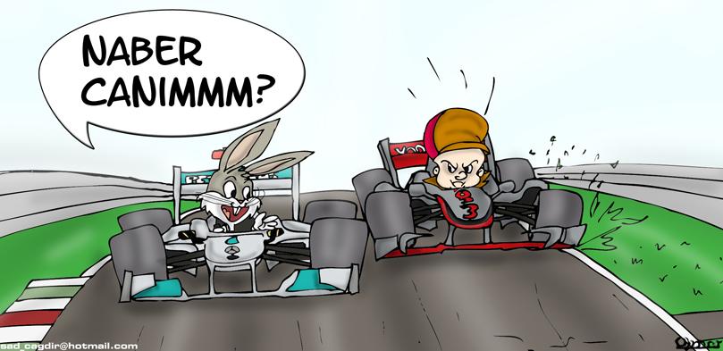 Михаэль Шумахер расстраивает Льюиса Хэмилтона в Монце на Гран-при Италии 2011 - комикс Omer