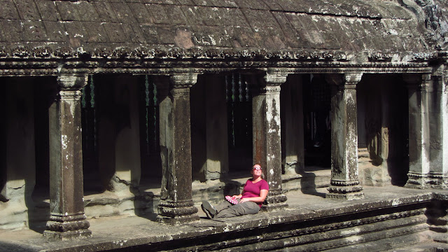 Heather catching some rays in Angkor Wat.
