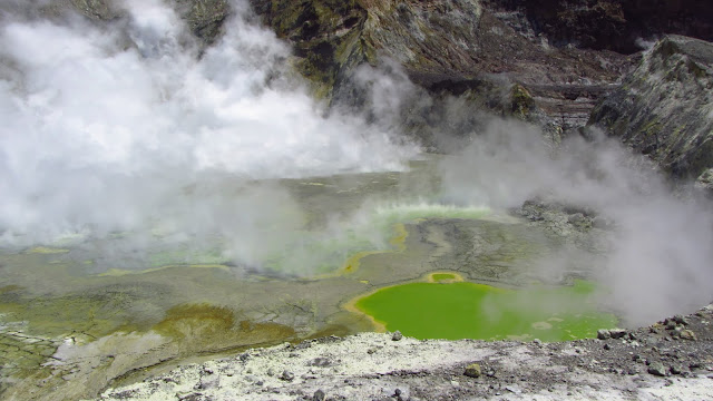Lots of action in the volcano's bubbling crater.