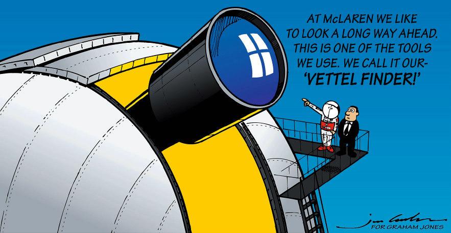 комикс Jim Bamber после Гран-при Италии 2011 в Монце - в McLaren смотрят на далеко-впереди идущего Себастьяна Феттеля