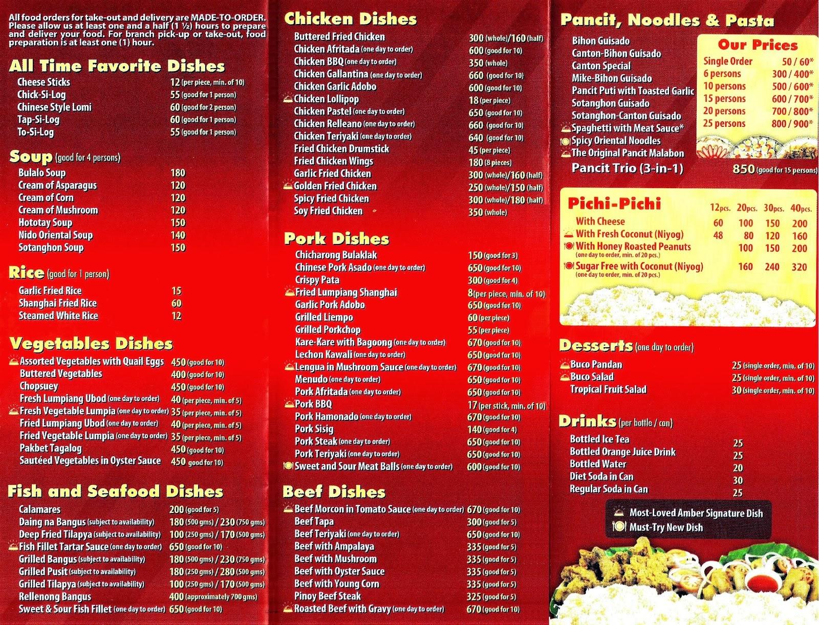 Amber Golden Chain of Restaurants Menu