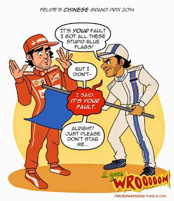 Фелипе Масса ругает Фернандо Алонсо за синие флаги - комикс It Goes Wrooom по Гран-при Китая 2014