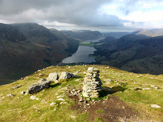 Fleetwith Pike Summit Cairn looking to Buttermere and Crummock Water