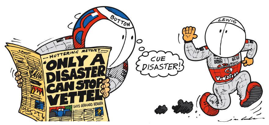 комикс Jim Bamber о катастрофе способной остановить Феттеля в сезоне 2011