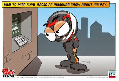 Кими Райкконен пропускает последние две гонки и ждем зарплаты - комикс Chris Rathbone