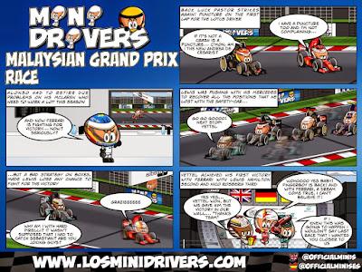 комиксы MiniDrivers по гонке на Гран-при Малайзии 2015