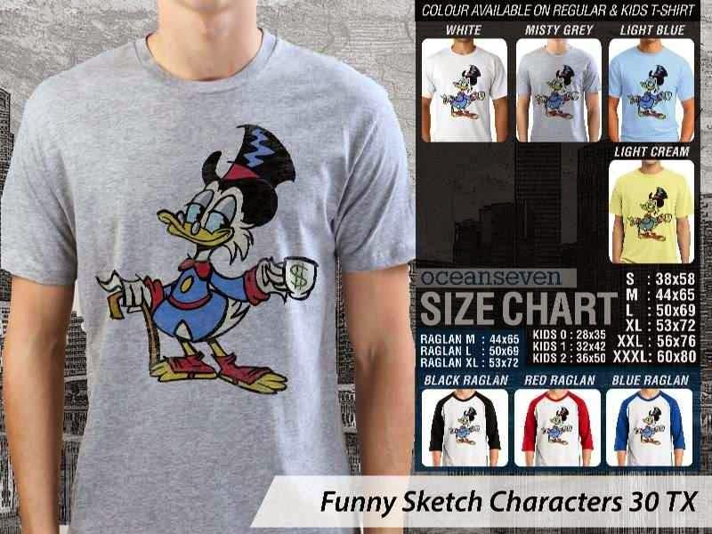 Kaos Kartun Lucu Funny Sketch Characters 30 gober distro ocean seven