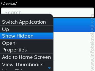 Show hidden file BlackBerry