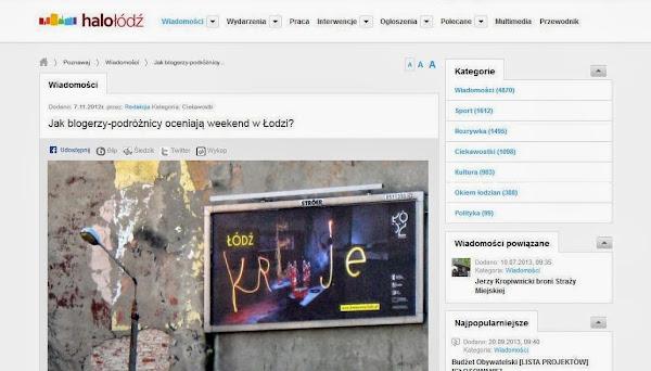 Ruszaj w Drogę na lokalnym portalu informacyjnym HaloŁódź