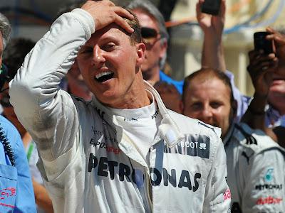Михаэль Шумахер после финиша гонки на Гран-при Европы 2012