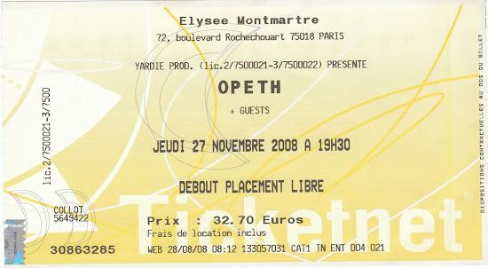 Opeth / Cynic / The Ocean @ Elysée Montmartre, Paris 27/11/2008