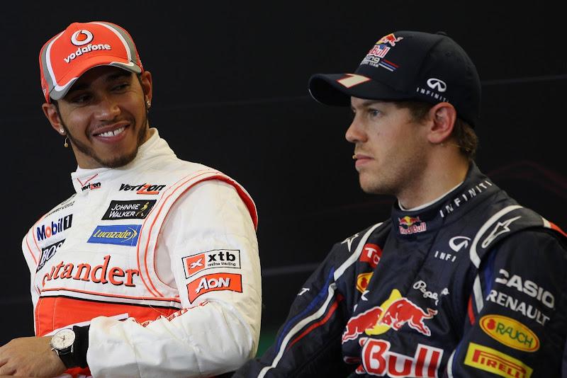 Льюис Хэмилтон и Себастьян Феттель на пресс-конференции после квалификации на Гран-при США 2012