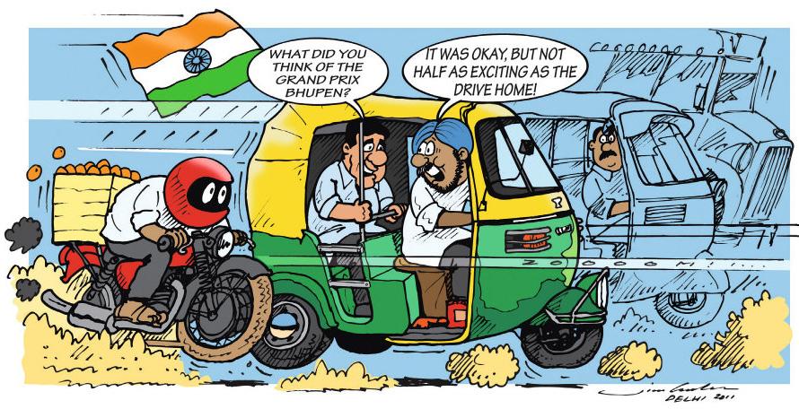 комикс Jim Bamber по Гран-при Индии 2011