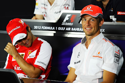 Фелипе Масса и Дженсон Баттон на пресс-конференции в четверг на Гран-при Бахрейна 2013