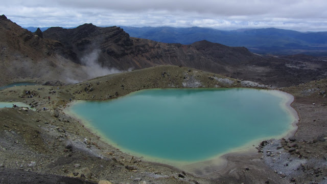 Minerals in the volcanic soil are responsible for the Emerald Lakes' bright green color.