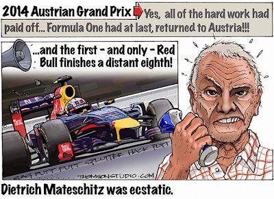 эмоции Дитера Матешица от неудачного выступления на домашней гонке на Гран-при Австрии 2014 - комикс Bruce Thomson