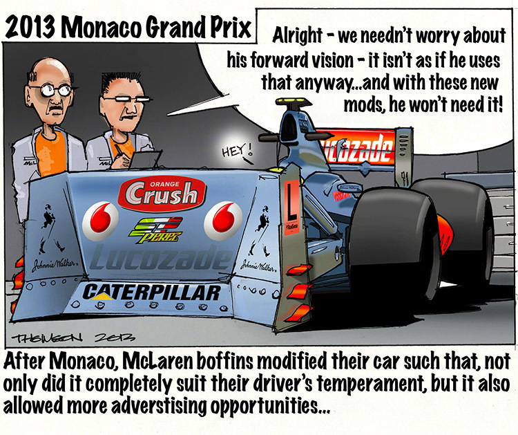 McLaren модифицировали машину под Серхио Переса после Гран-при Монако 2013 - комикс Bruce Thomson