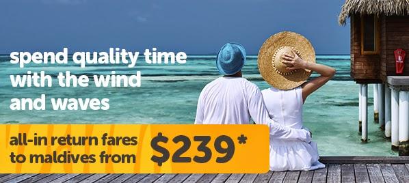 虎航馬爾地夫機票優惠,新加坡出發,來回連稅$1,512起,另加一程酷航去新加坡,總數都係$2,448起。