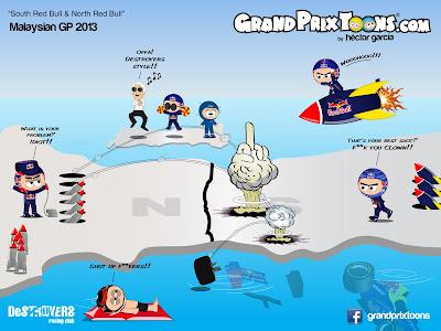 Южный Red Bull и Северный Red Bull - комикс Grand Prix Toons по Гран-при Малайзии 2013